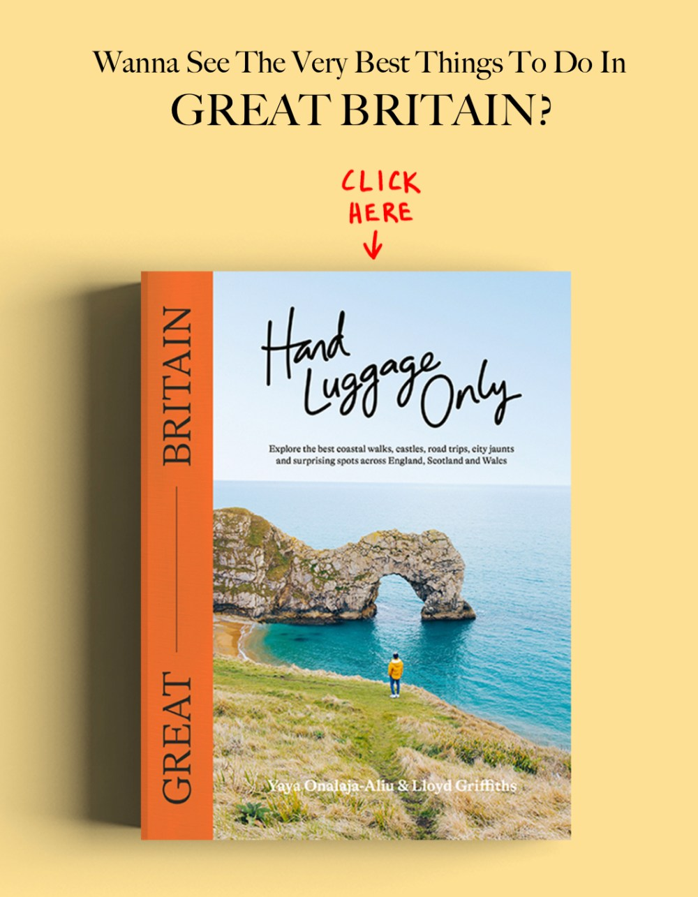 Hand luggage only Great Britain Travel book Banner advertising